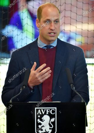 Britain's Prince William, the Duke of Cambridge speaks to Aston Villa players during a visit to Aston Villa High Performance Centre at Bodymoor Heath Training Centre in Bodymoor Heath, England
