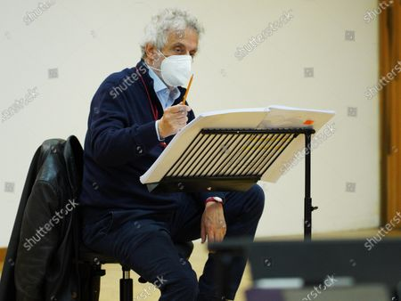 Italian composer and conductor Nicola Piovani gestures during the rehearsals for his first opera 'Amorosa Presenza' at the Verdi theater in Trieste, Italy, 04 May 2021.