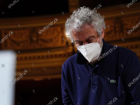 Italian composer and conductor Nicola Piovani is seen during the rehearsals for his first opera 'Amorosa Presenza' at the Verdi theater in Trieste, Italy, 04 May 2021.