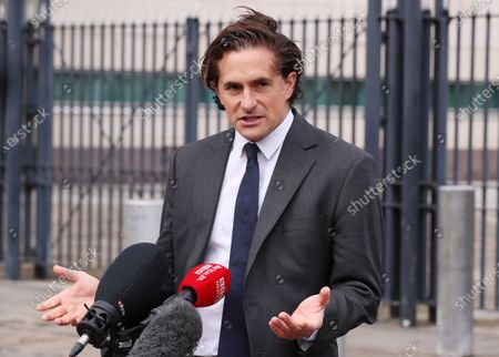 Former UK Defence Minister Johnny Mercer pictured outside the court after the case collapsed
