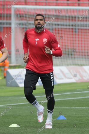 Kevin-Prince Boateng of AC Monza in action during the Serie B match between AC Monza and US Lecce at Stadio Brianteo on May 04, 2021 in Monza, Italy
