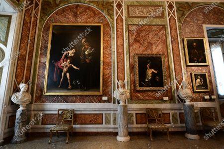 The Sala del Sileno with paintings by Caravaggio ' Madonna dei Palafrenieri' (Virgin of Palafrenieri) ' David con la testa di Golia ' (David with the head of Golia) 'Autoritratto In veste di Bacco ' ( Portrait in the guise of Bacchus) and the painting by Jusepe de' Ribera aka Spagnoletto ' Un mendicante ' (A beggar) in the Galleria Borghese reopened to the public as Lazio region is back to the COVID-19 yellow zone