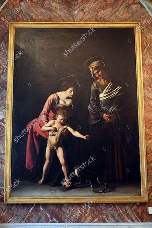 The Sala del Sileno painting by Caravaggio ' Madonna dei Palafrenieri ' (Virgin of Palafrenieri) in the Galleria Borghese reopened to the public as Lazio region is back to the COVID-19 yellow zone