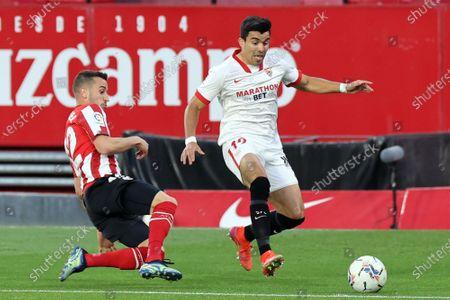 Stock Image of Franco Vazquez of Sevilla FC in action during the La Liga match between Sevilla FC and v at Estadio Sanchez Pizjuan in Sevilla, Spain.