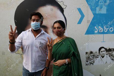 Trinamool Congress win Candidates and Actress June Malia and Raj Chakraborty of the West Bengal legislative assembly election, in Kolkata on May 03,2021.