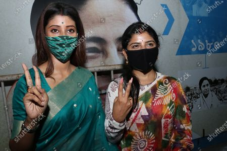 Stock Picture of Trinamool Congress win Candidates and Actress Lovely Moitra ( Left ) and Singer Aditi Munshi  of the West Bengal legislative assembly election, in Kolkata on May 03,2021.