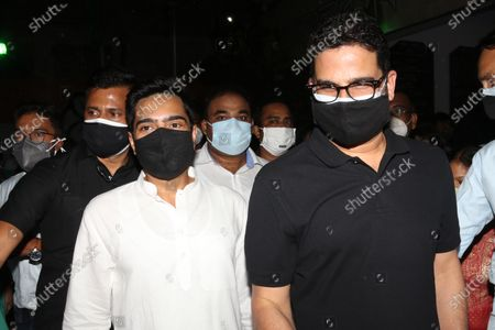 Abhishek Banerjee MP and Nefew of Mamata Banerjee with Prashant Kishor , Indian political strategist arrive TMC bhawan and join the TMC  party meeting with newly win TMC  Candidates  of the West Bengal legislative assembly election, in Kolkata on May 03,2021.