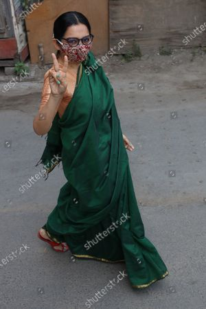 Stock Photo of Trinamool Congress win Candidate and Actress June Malia of the West Bengal legislative assembly election, in Kolkata on May 03,2021.