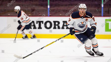 Connor McDavid #97 of the Edmonton Oilers during an NHL hockey game, in Vancouver, Canada
