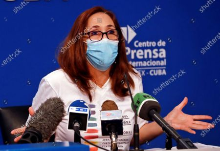 Mariela Castro Espin, director of the National Center for Sexual Education (CENESEX) and daughter of former Cuban president Raul Castro, participates in a press conference, in Havana, Cuba, 04 May 2021. Mariela Castro Espin announced the activities to be carried out in May for the national day of struggle against homophobia and transphobia.