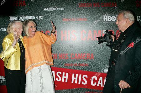 Liz Smith, President HBO Documentary Films, Sheila Nevins and Ron Galella