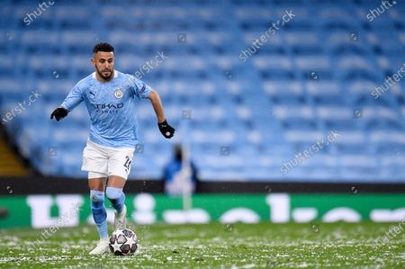 Stock Picture of Manchester City's Riyad Mahrez in action during the UEFA Champions League semi final, second leg soccer match between Manchester City and Paris Saint-Germain in Manchester, Britain, 04 May 2021.