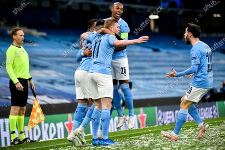 Manchester City's Fernandinho (C) and his teammates celebrate their team's 1-0 lead during the UEFA Champions League semi final, second leg soccer match between Manchester City and Paris Saint-Germain in Manchester, Britain, 04 May 2021.