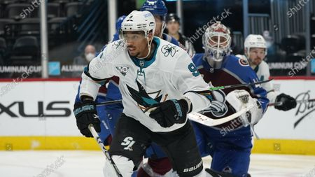 Stock Picture of San Jose Sharks left wing Evander Kane (9) in the third period of an NHL hockey game, in Denver. The Avalanche won 4-3