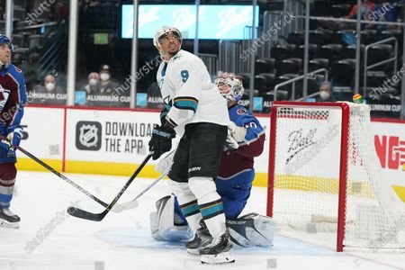 San Jose Sharks left wing Evander Kane (9) in the third period of an NHL hockey game, in Denver. The Avalanche won 4-3