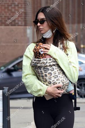 Stock Image of Emily Ratajkowski is seen out with her son Sylvester Apollo Bear