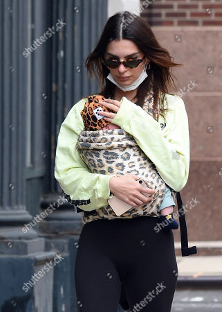 Emily Ratajkowski is seen out with her son Sylvester Apollo Bear