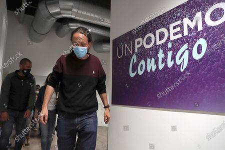 Stock Picture of Unidas Podemos' candidate to Madrid' regional elections and former Spanish Vice President Pablo Iglesias delivers a speech where he announced his resignation following Madrid's regional elections in Madrid, Spain, 04 May 2021.