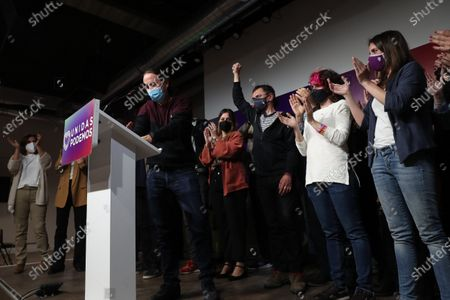Unidas Podemos' candidate to Madrid' regional elections and former Spanish Vice President Pablo Iglesias delivers a speech where he announced his resignation following Madrid's regional elections in Madrid, Spain, 04 May 2021.