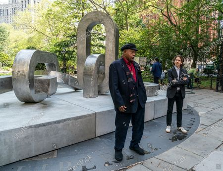 Artist Melvin Edwards attends unveiling of sculptures Brighter Days at CIty Hall Park sponsored by Public Art Fund.