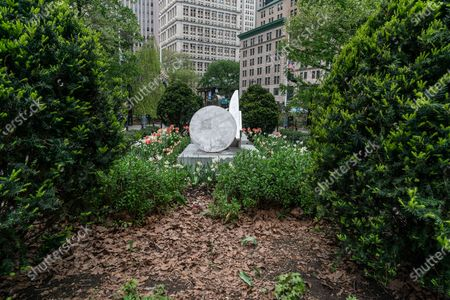 Stock Image of Unveiling of sculptures Brighter Days by Melvin Edwards at CIty Hall Park sponsored by Public Art Fund.