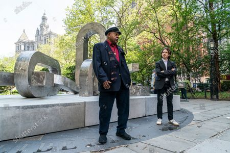Stock Photo of Artist Melvin Edwards attends unveiling of sculptures Brighter Days at CIty Hall Park sponsored by Public Art Fund.