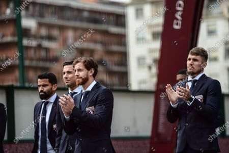 Stock Picture of Cristian Ansaldi meets the supporter during the celebration of the 72nd Anniversary Of the Superga Airplane Disaster. Fans, players and staff of Torino FC annually meet to remember the plane crash which killed all 31 aboard including the entire Grande Torino football team on May 4th, 1949. However this year the fans are unable to gather due to coronavirus (COVID-19) restrictions.