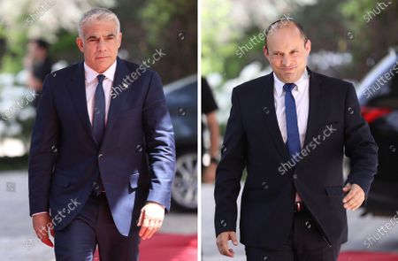 Stock Picture of A combination photograph shows the Leader of the Yemina party, Naftali Bennett (R) and leader of the Yessh Atid party, Yair Lapid (L) both entering the residence of President Reuven Rivlin, in Jerusalem, Israel, 05 May 2021. Israeli Prime Minister Benjamin Netanyahu failed to form a government with at least 61 Knesset seats as the deadline issued by the President has ended. The mandate to form a government is expected to pass to the Yesh Atid party and a rotation deal with Naftali Bennett.