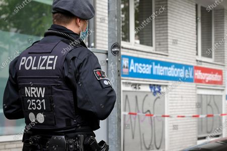 Stock Image of Police searches the premises of the Ansaar International aid organization in Duesseldorf, Germany, 05 May 2021. German Interior Minister Horst Seehofer has banned Ansaar International and its sub-organizations. Police is searching apartments and garages in ten German states, with a focus on North Rhine-Westphalia.