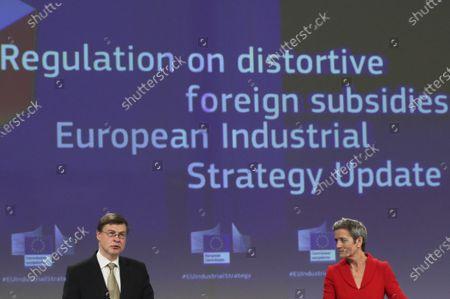 European Commission Vice Presidents Margrethe Vestager, right, and Valdis Dombrovskis participate in a media conference on the proposal for a Regulation to address distortions caused by foreign subsidies in the Single Market and on the European Industrial Strategy Update at EU headquarters in Brussels