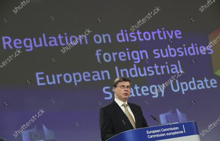 European Commission Vice President Valdis Dombrovskis speaks during a media conference on the proposal for a Regulation to address distortions caused by foreign subsidies in the Single Market and on the European Industrial Strategy Update at EU headquarters in Brussels