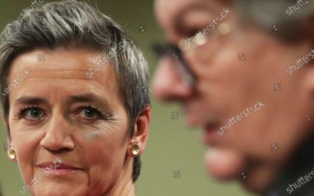 Stock Image of European Commission Vice Presidents Margrethe Vestager, right, and European Commissioner for Internal Market Thierry Breton participate in a media conference on the proposal for a Regulation to address distortions caused by foreign subsidies in the Single Market and on the European Industrial Strategy Update at EU headquarters in Brussels