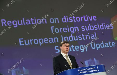 European Commission Vice President Valdis Dombrovskis speaks during a joint news conference in Brussels, Belgium, 05 May 2021. The Commissioners gave an update on the European Industrial Strategy and the EU's twin transition to a green and digital economy.