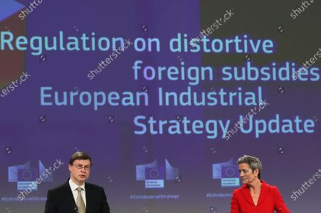European Commission Vice Presidents Valdis Dombrovskis  (L) and Margrethe Vestager (R) during a joint news conference in Brussels, Belgium, 05 May 2021. The Commissioners gave an update on the European Industrial Strategy and the EU's twin transition to a green and digital economy.