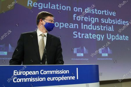 European Commission Vice President Valdis Dombrovskis during a joint news conference in Brussels, Belgium, 05 May 2021. The Commissioners gave an update on the European Industrial Strategy and the EU's twin transition to a green and digital economy.