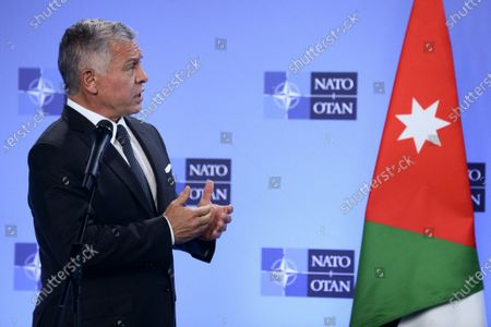 Jordan's King Abdullah II speaks during a joint news conference with NATO Secretary General Jens Stoltenberg at the Alliance's headquarters in Brussels, Belgium, 05 May 2021. According to a statement by the Royal Hashemite Court, King Abdullah II will be on a one-day working visit to the Belgian Capital during which he is scheduled to meet with King Philippe of Belgium, NATO Secretary General Jens Stoltenberg, European Council President Charles Michel, and European Commission President Ursula von der Leyen.