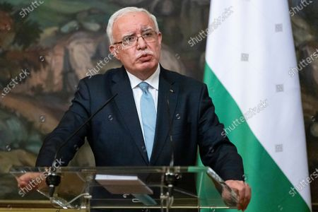 Palestinian Foreign Minister Riyad Al-Maliki speaks during a joint news conference with Russian Foreign Minister Sergey Lavrov following their talks in Moscow, Russia