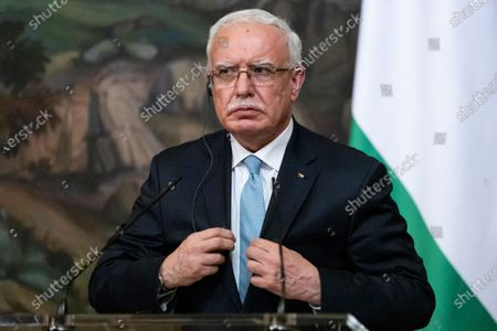 Palestinian Foreign Minister Riyad Al-Maliki listens during a joint news conference with Russian Foreign Minister Sergey Lavrov following their talks in Moscow, Russia, 05 May 2021. Palestinian Foreign Minister Riyad Al-Maliki is on a working visit in Moscow.