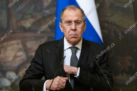 Russian Foreign Minister Sergey Lavrov prepares to leave a joint news conference with Palestinian Foreign Minister Riyad Al-Maliki (not pictured) following their talks in Moscow, Russia, 05 May 2021. Palestinian Foreign Minister Riyad Al-Maliki is on a working visit in Moscow.
