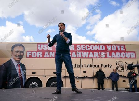 Scottish Labour Leader Anas Sarwar speaks at an outdoor rally for Scottish Labour in Glasgow on the eve of polling day.