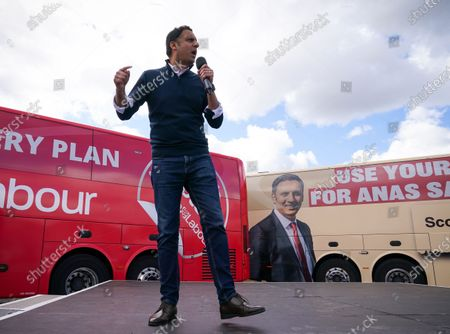 Scottish Labour Leader Anas Sarwar on stage at an outdoor rally for Scottish Labour in Glasgow on the eve of polling day.