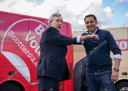 Former Prime Minister Gordon Brown with Scottish Labour Leader Anas Sarwar on stage at an outdoor rally for Scottish Labour in Glasgow on the eve of polling day.