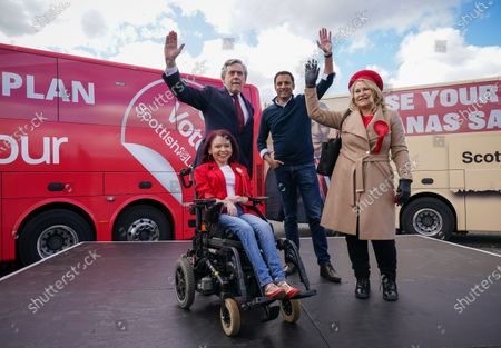 Former Prime Minister Gordon Brown & Scottish Labour Leader Anas Sarwar on stage with Glasgow candidates Pam Duncan-Glancy & Pauline McNeill at an outdoor rally for Scottish Labour in Glasgow on the eve of polling day.