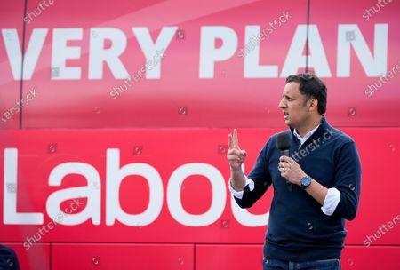Editorial photo of Gordon Brown and Anas Sarwar speak at Scottish Labour outdoor rally, Glasgow, UK - 05 May 2021