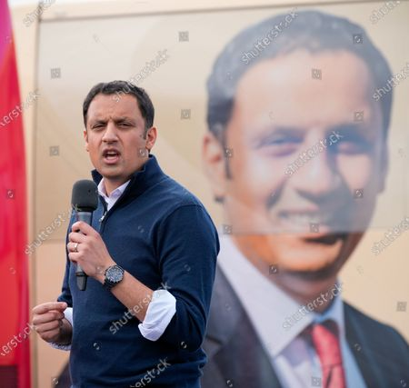 Stock Photo of Scottish Labour Leader Anas Sarwar speaks at an outdoor rally for Scottish Labour in Glasgow on the eve of polling day.