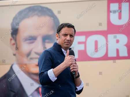Stock Image of Scottish Labour Leader Anas Sarwar speaks at an outdoor rally for Scottish Labour in Glasgow on the eve of polling day.