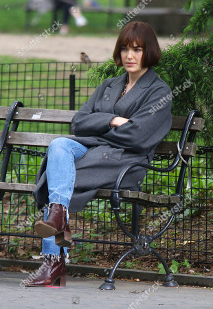 Stock Picture of Elizabeth Henstridge on the set of the new Apple TV series Suspicion at Washington Square Park
