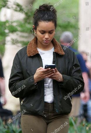 Georgina Campbell, on the set of the new Apple TV series Suspicion at Washington Square Park