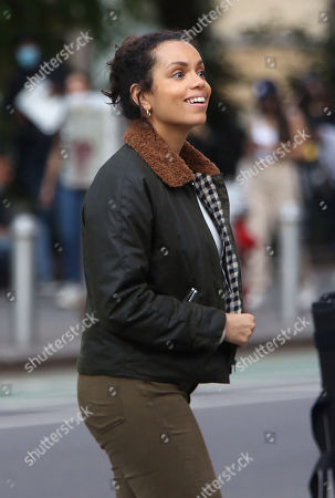 Stock Picture of Georgina Campbell, on the set of the new Apple TV series Suspicion at Washington Square Park