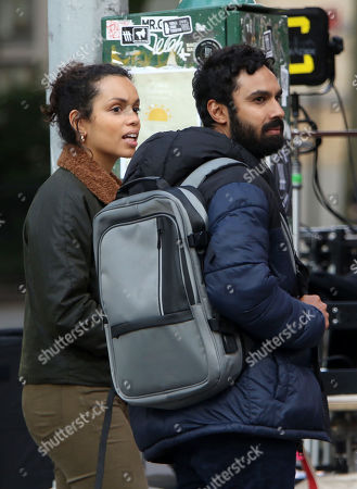 Stock Image of Kunal Nayyar, Georgina Campbell, on the set of the new Apple TV series Suspicion at Washington Square Park